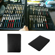 Fountain Pen/Roller Pen Black Color PU Leather Zipper Case for 48 Pens LC