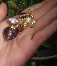 Vintage AMETHYST Gold Art Glass Necklace Heart 1980s Murano-NZ Antique Estate