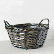 Dark Stained Round Willow Wicker Basket Decorative Storage Display