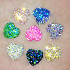 20 Heart Flat Back Resin Rhinestones Wedding Craft Glitter Cabochon Gems 12mm