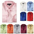 Men's  Shiny Satin Dress Shirt With Tie and Handkerchief Set Style SG-08