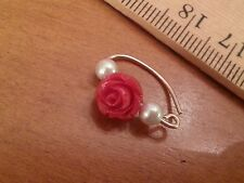 Navel Belly Ring * 14k Yellow Gold Filled gf * 20 gauge Rose & Swarovski Pearls!