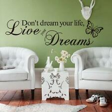 """PVC Reusable """"Don't Dream Your Life"""" Proverb Room Home Wall Art Stick Decal Deco"""
