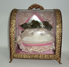 Antique French Bridal Wedding Display Case Glass Wood Pink Filigree Metal Trim
