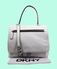 DKNY  LG Flap Top Handle White  Leather Shoulder Bag Msrp $398.00