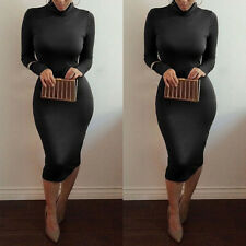 Women Sexy Turtle Neck Long Sleeve Casual Lady Stretch Bodycon Party Midi Dress