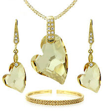 CRYSTAL GOLD 18K HEART JEWELRY SET SWAROVSKI ELEMENT NECKLACE EARRING BRACELET