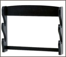 WALL MOUNT DOUBLE SWORD DISPLAY STAND BLACK SOLID WOOD MADE NEW!!!