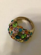 FOSSIL Crystal Pave Rainbow Dome Cocktail Ring Antique Gold-Tone Stainless Steel