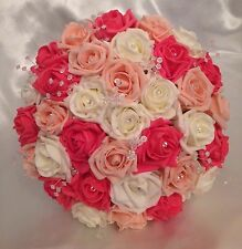 ARTIFICIAL FLOWERS IVORY PEACH CORAL ROSE BRIDE CRYSTAL WEDDING BOUQUET POSIE