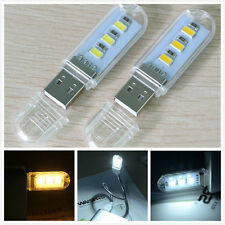 2PCS Mini Portable Bright 3 LED Night Light USB Lamp for PC Laptop Reading Bulb