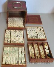 antique Chinese MAH JONG SET complete bone bamboo in fine carved 5-drawer chest