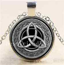 Metal Celtic Trinity Knot Cabochon Glass Tibet Silver Chain Pendant Necklace