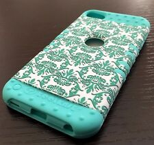 For iPod Touch 5th / 6th Gen - HYBRID IMPACT ARMOR CASE BLUE GREEN FLORAL PRINTS