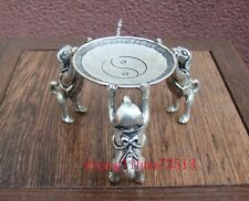 Antique Collectible Handmade Statue Candlestick Silver Dog & Plate Decoration