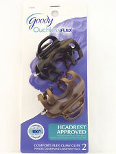 GOODY OUCHLESS COMFORT FLEX CLAW HAIR CLIPS - BLACK & BROWN - 2 PCS. (23345A)