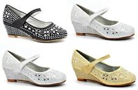 GIRLS KIDS CHILDRENS BRIDESMAID WEDGE MID HEEL DIAMANTE PARTY WEDDING SHOES SIZE