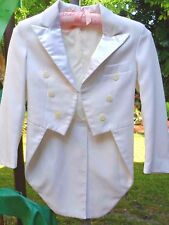 Super Nice Boy's Long White Formal Washable Tux Coat sz 8 Great for Weddings