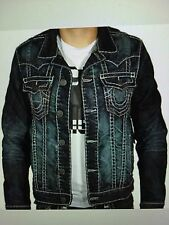 TRUE RELIGION JIMMY SUPER T MEN JEAN JACKET CPTD DRY BRUSH MR62NTW9 NWT L $369