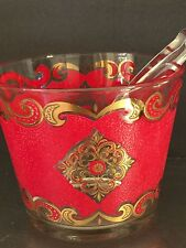 Mid Century Bar Ware Culver Ice Bucket Starlyte Red Gold Tongs Valencia