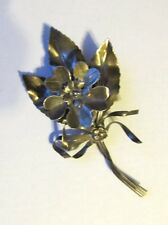 Vintage 40's HOBE? STERLING FLOWER BOUQUET FLORAL BROOCH PIN