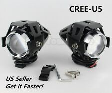 2* 125W 3000LM CREE U5 LED Motorcycle Driving Fog Lamp Spot light Headlight US