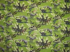 JURASSIC WORLD DINOSAUR PARK INDOMINUS REX RAPTERS on COTTON FABRIC By The Yard
