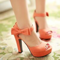 Sexy Ladies Ankle Bowknot Strap High Heels Platform Sandals Open Toe Shoes Size