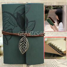 Vintage Leaf Diary Exercise Book Leather Cover Travel Planner Pocket Notebook