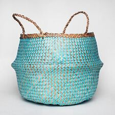 Handwoven Natural Seagrass Belly Basket - Blue Chevron Design