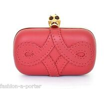 ALEXANDER McQUEEN ARABESQUE STITCHED SKULL BOX CLUTCH BAG SWAROVSKI CRYSTALS BNT