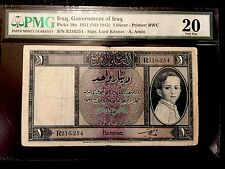 Government Of Iraq Kingdom 1 Dinar P18a Baby King Faisal PMG 20 VF - RARE