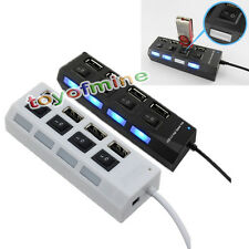 Weiß USB Hub Erweiterung Splitter mit ON / OFF Switch 4 Port USB 2.0 Multi Hub