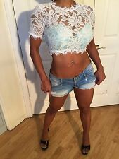 Festival style Sexy Sheer White Lace Crop Top (this top runs small) L/XL
