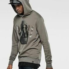 $125 Authentic Rare G-STAR RAW Men's Grey Hooded Sweat Sweatshirt Sweater