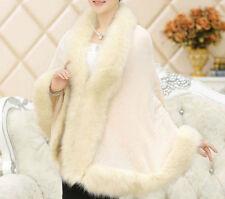 Luxus Damen Poncho mit Fell, Umhang Woll Cape Strickjacke,36,38,40,42 ,Beige