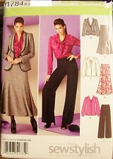 Miss Simplicity 1784 Pattern Trumpet Skirt Jacket Pants UNCUT Size 8-10-12-14-16