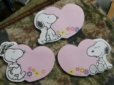 PEANUTS SNOOPY POST IT NOTE PADS SET OF 3 DIFFERENT ONES  ( VALENTINES DAY) NEW