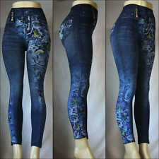 Fashion Jeggings Jeans Look Printed Leggings Women's Pants Stretchy Skinny Slim