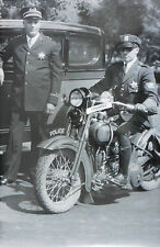 """12 By 18"""" Black & White Picture Motorcycle cops with Harley about 1932"""