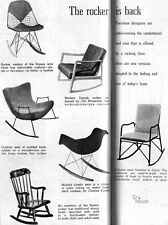 Eames Molded Plastic Chair Rocker WIRE CHAIR Ole Wanscher 1953 Magazine Pages