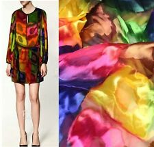 DESIGNER BURN-OUT SILK(75%) CHIFFON FABRIC COLORFUL BY THE YARD S128