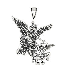 Sterling Silver San Miguel Arcangel St. Michael Archangel Pendant 2.3 inches Big