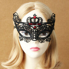 Sexy Womens Crown Stone Lace Masquerade Face Eye Mask Party Gothic Hair Headband
