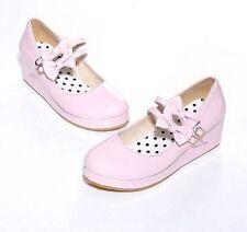 Womens Lolita Bowknot Wedge Heel Platform Mary Janes Pumps Court Shoes Single