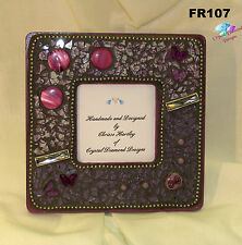 Purple Beauty Tempered Glass Handmade Mosaic Picture Frame for your Home - FR107
