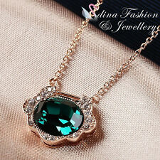 18K Rose Gold Plated Swarovski Crystal Exquisite Retro Dark Emerald Necklace