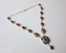 TURKISH VICTORINE EMERALD& RUBY&SAPPHIRE STONE 925 SILVER PLATED NECKLACE 43 GMS