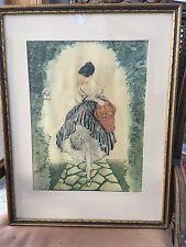 Vintage Louis Icart Framed Print, Le Panier De Pommes