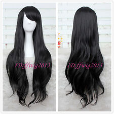 Adventure time Marceline the Vampire Queen long Black wavy curly Cosplay Wig